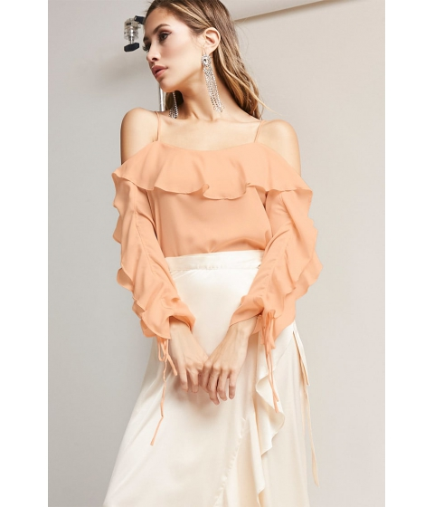 Imbracaminte Femei Forever21 Open-Shoulder Ruffle Top CHAMPAGNE