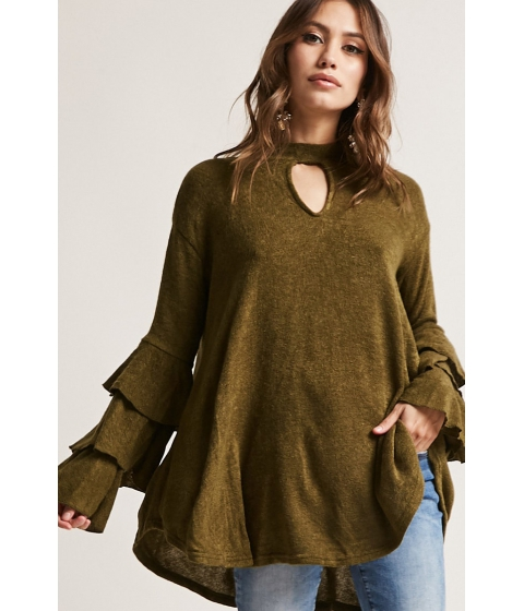Imbracaminte Femei Forever21 Brushed High-Low Top OLIVE