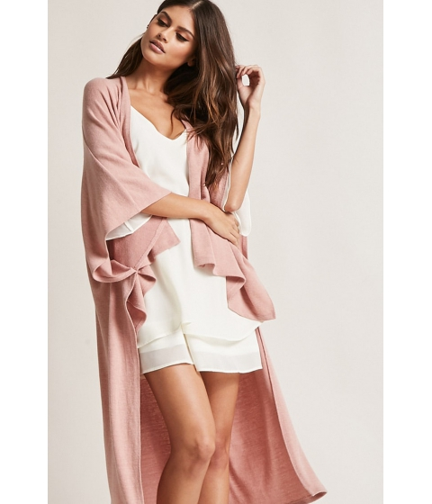 Imbracaminte Femei Forever21 Brushed High-Low Cardigan MAUVE