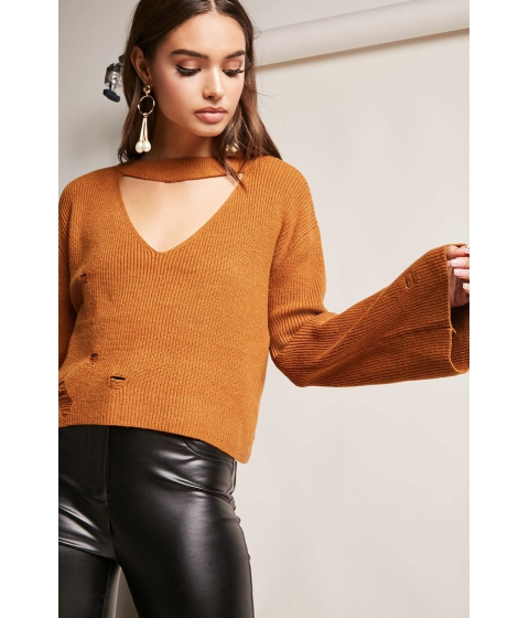 Imbracaminte Femei Forever21 Bell-Sleeve Cutout Sweater CAMEL