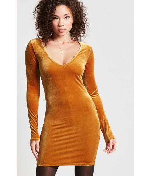 Imbracaminte Femei Forever21 Velvet V-Neck Mini Dress AMBER