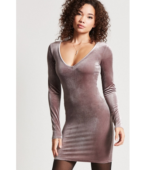 Imbracaminte Femei Forever21 Velvet V-Neck Mini Dress GREY