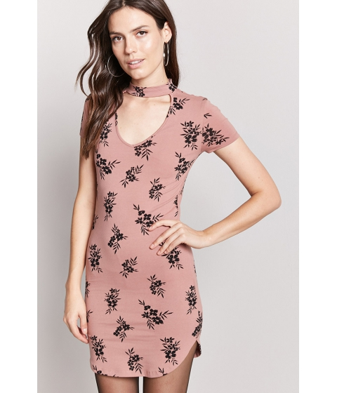 Imbracaminte Femei Forever21 Floral Mock Neck Dress MAUVEBLACK