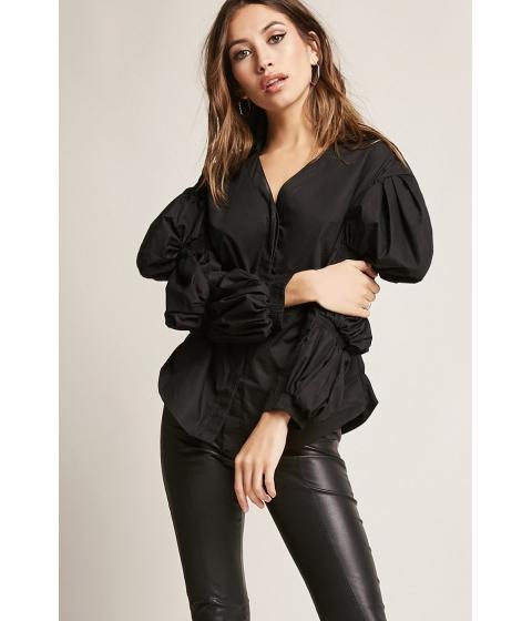 Imbracaminte Femei Forever21 Puff Sleeve Poplin Top BLACK