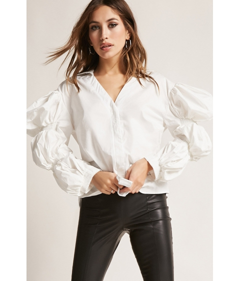 Imbracaminte Femei Forever21 Puff Sleeve Poplin Top WHITE