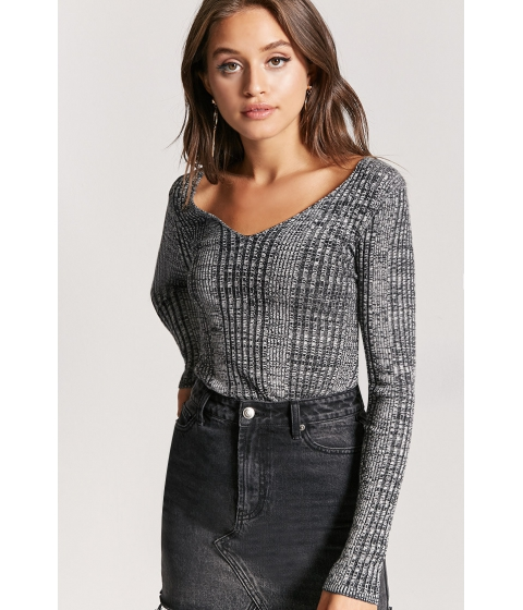 Imbracaminte Femei Forever21 Marled Ribbed Sweater BLACKIVORY