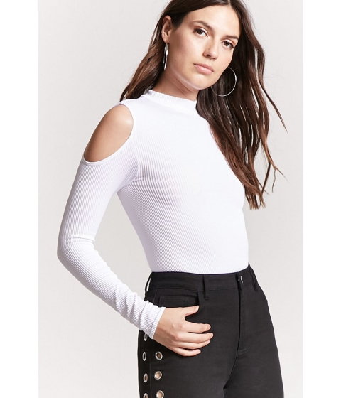 Imbracaminte Femei Forever21 Ribbed Open-Shoulder Top WHITE