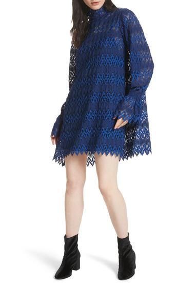Imbracaminte Femei Free People Simone Mock Neck Lace Mini Dress BLUE