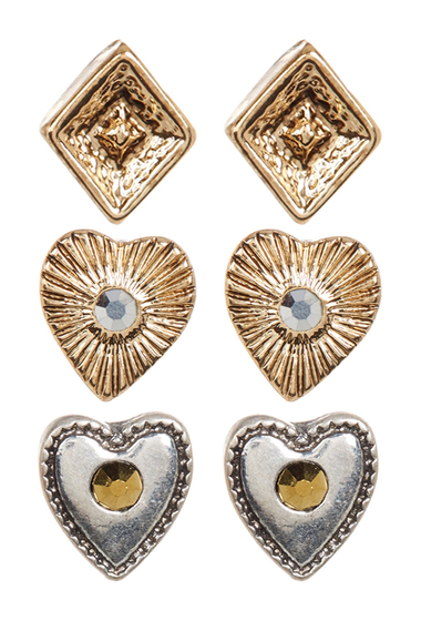 Bijuterii Femei Melrose and Market Heart Stud Earrings - Set of 3 GOLD-RHODIUM