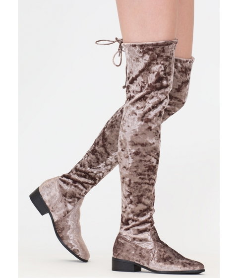 Incaltaminte Femei CheapChic Blocked Off Velvet Thigh-high Boots Taupe