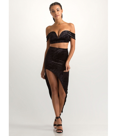 Imbracaminte Femei CheapChic Crushed It Velvet Crop Top And Skirt Set Black