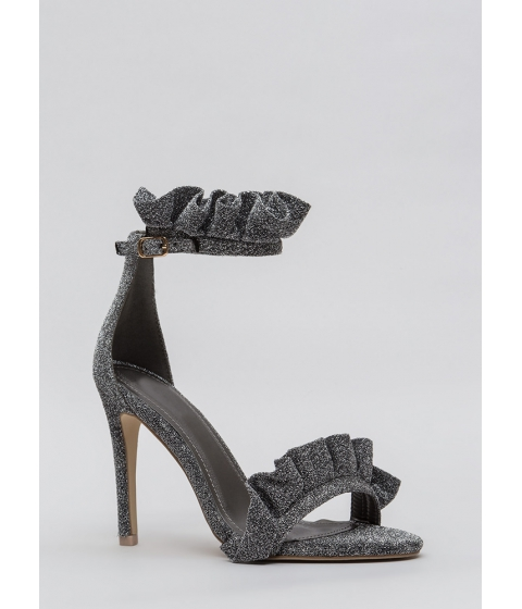 Incaltaminte Femei CheapChic Ruffle Some Feathers Strappy Heels Silver