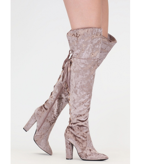 Incaltaminte Femei CheapChic Lace U Back Velvet Thigh-high Boots Taupe