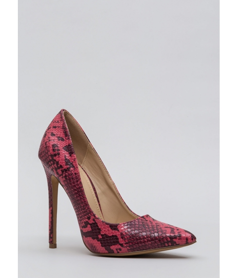 Incaltaminte Femei CheapChic Snake Out Tonight Reptile Scale Pumps Red