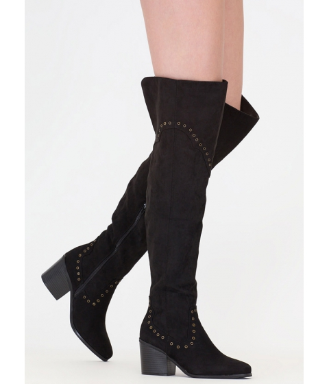 Incaltaminte Femei CheapChic Punch Me Chunky Thigh-high Grommet Boots Black
