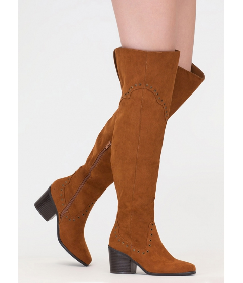 Incaltaminte Femei CheapChic Punch Me Chunky Thigh-high Grommet Boots Chestnut
