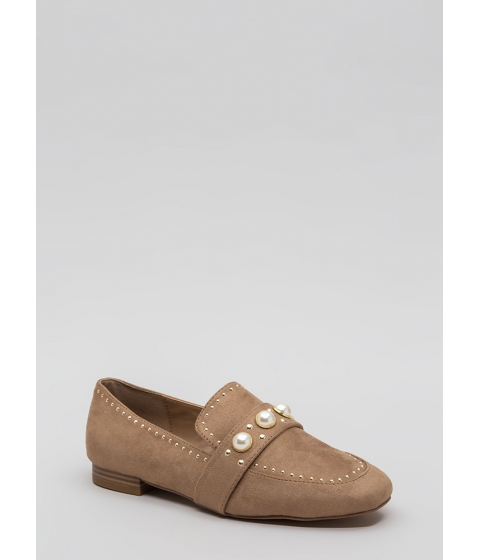 Incaltaminte Femei CheapChic Pearl Interrupted Studded Loafer Flats Taupe