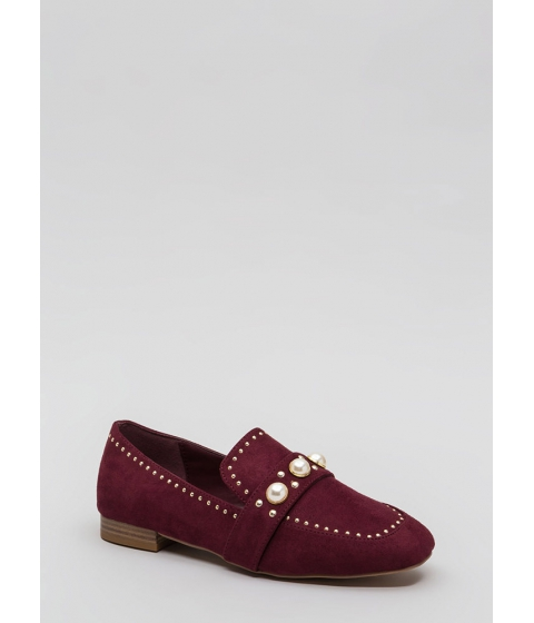 Incaltaminte Femei CheapChic Pearl Interrupted Studded Loafer Flats Wine