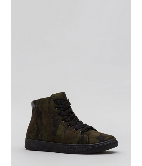 Incaltaminte Femei CheapChic Run Away Camo Print High-top Sneakers Camouflage