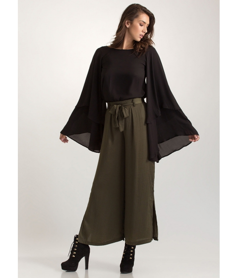 Imbracaminte Femei CheapChic Go With The Flow Tied Palazzo Pants Olive
