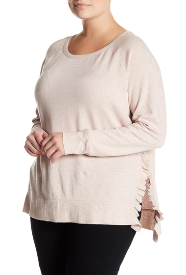 Imbracaminte Femei 14th Union Ruffled Pullover Plus Size PINK HERO HEATHER