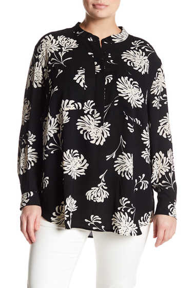 Imbracaminte Femei 14th Union Utility Blouse Plus Size BLACK PAINTED CHRYSANTHEMUM