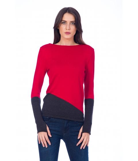 Imbracaminte Femei Be You Pulover rosu cu negru cu deget Multicolor