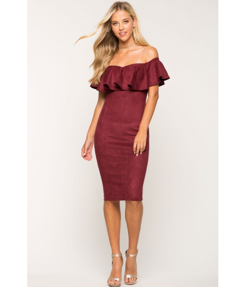 Imbracaminte Femei CheapChic Sofia Flounce Suede Dress WineBurgundy