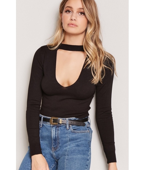 Imbracaminte Femei Forever21 Mock Neck Cutout Sweater BLACK