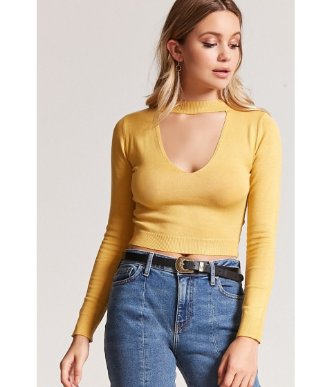 Imbracaminte Femei Forever21 Mock Neck Cutout Sweater MUSTARD