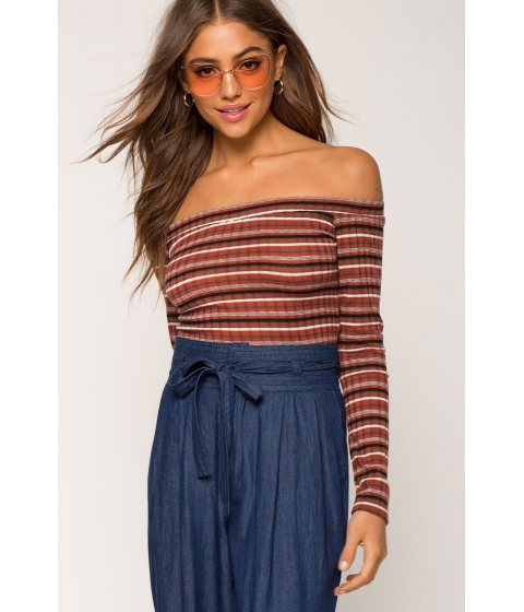 Imbracaminte Femei CheapChic Shauna Stripe Off Shoulder Top Red Pattern