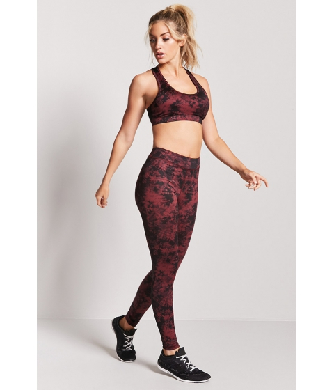 Imbracaminte Femei Forever21 Active Marbled Leggings WINEBLACK