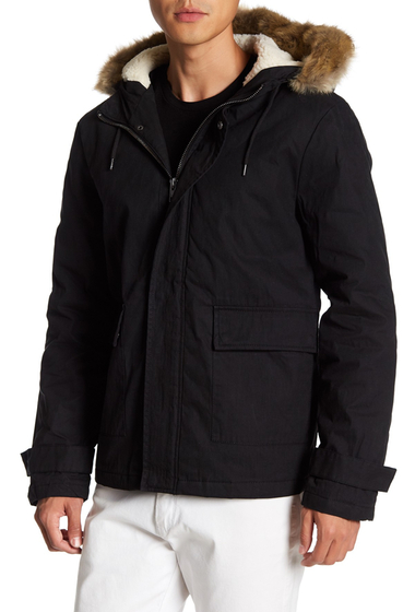 Imbracaminte Barbati TOPMAN Faux Fur Trim Hooded Parka BLACK