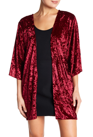 Accesorii Femei Free Press 34 Sleeve Lace Trim Solid Velvet Kimono BURGUNDY