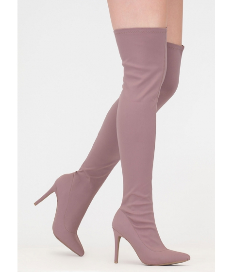 Incaltaminte Femei CheapChic Bonus Points Lycra Thigh-high Boots Mauve