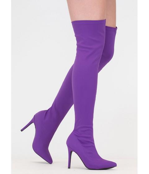 Incaltaminte Femei CheapChic Bonus Points Lycra Thigh-high Boots Purple