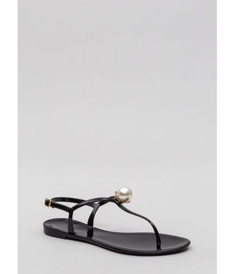 Incaltaminte Femei CheapChic Pretty As A Pearl Jelly Thong Sandals Black