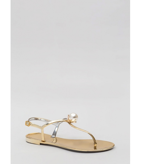 Incaltaminte Femei CheapChic Pretty As A Pearl Jelly Thong Sandals Gold