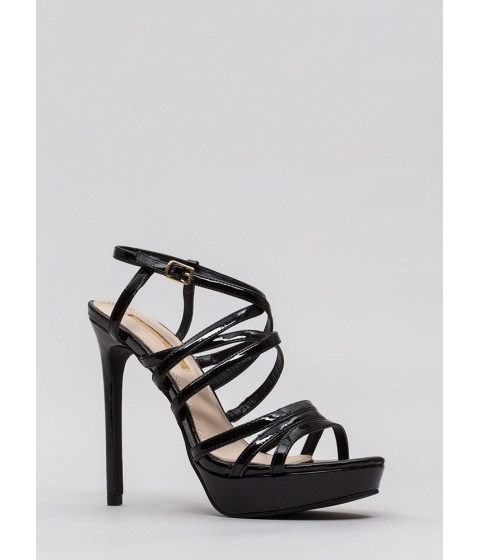 Incaltaminte Femei CheapChic The Skinny Strappy Faux Patent Heels Black