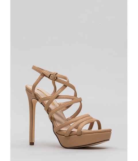 Incaltaminte Femei CheapChic The Skinny Strappy Faux Patent Heels Nude