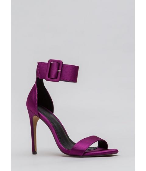 Incaltaminte Femei CheapChic Youre Golden Satin Ankle Strap Heels Purple