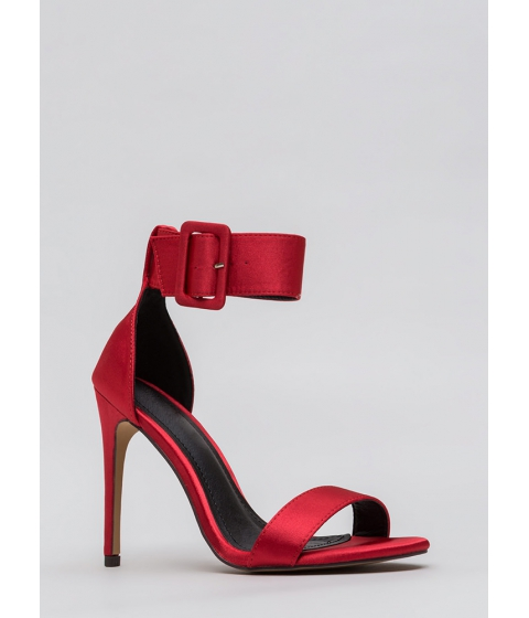 Incaltaminte Femei CheapChic Youre Golden Satin Ankle Strap Heels Red