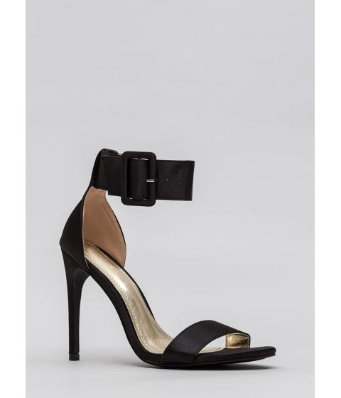 Incaltaminte Femei CheapChic Youre Golden Satin Ankle Strap Heels Black