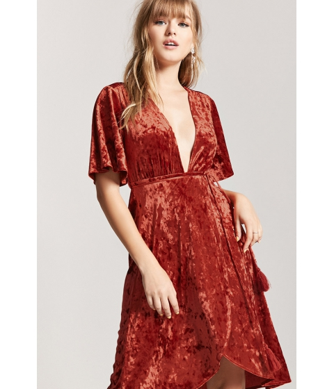 Imbracaminte Femei Forever21 Crushed Velvet Plunging Midi Dress BRICK