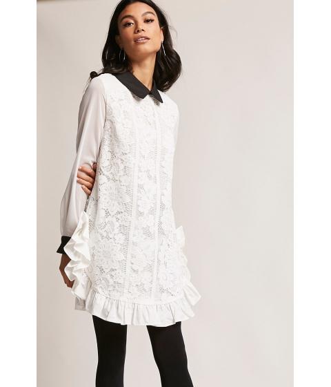 Imbracaminte Femei Forever21 Longline Crochet Lace Top WHITE