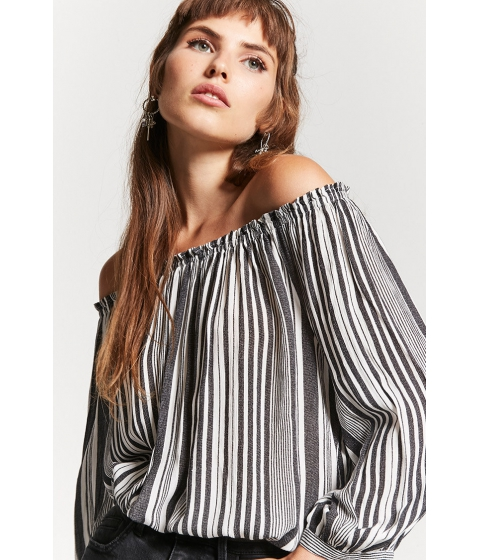Imbracaminte Femei Forever21 Striped Off-the-Shoulder Top CREAMBLACK