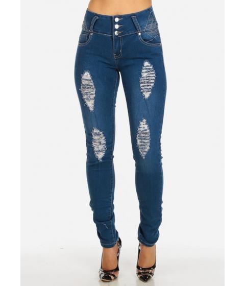 Imbracaminte Femei CheapChic Mid Rise Levanta Cola Distressed Skinny Jeans Multicolor