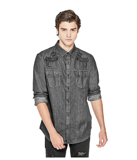 Imbracaminte Barbati GUESS Trystan Embroidered Chambray Shirt jet black