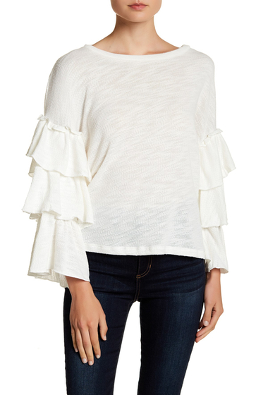 Imbracaminte Femei Ro De Tiered Knit Bell Sleeve Blouse WHITE