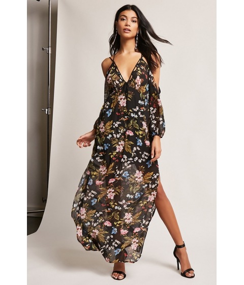 Imbracaminte Femei Forever21 Sheer Floral Maxi Dress BLACKMULTI